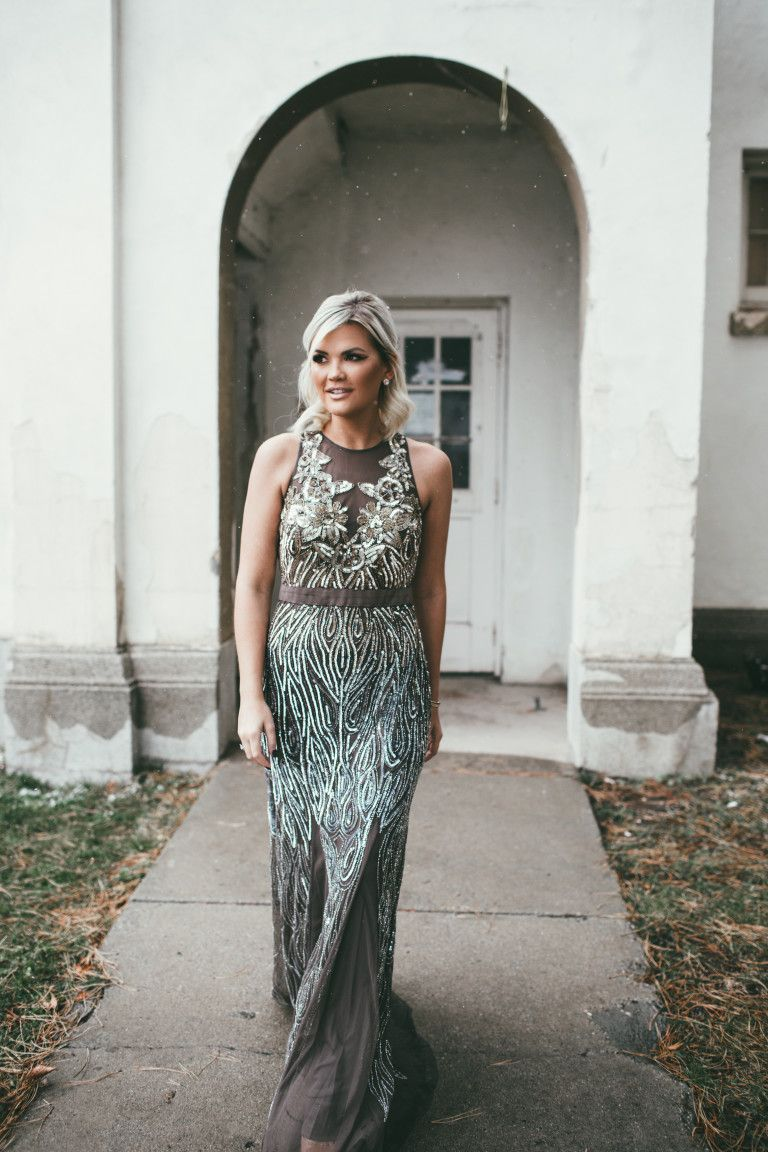 Wild One Forever - Adrianna Papell Floral Beaded Mermaid Dress ...