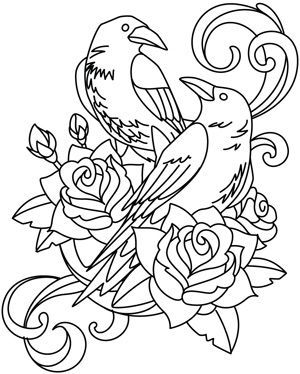 Ravens And Roses Embroidery Flowers Bird Coloring Pages Embroidery Designs