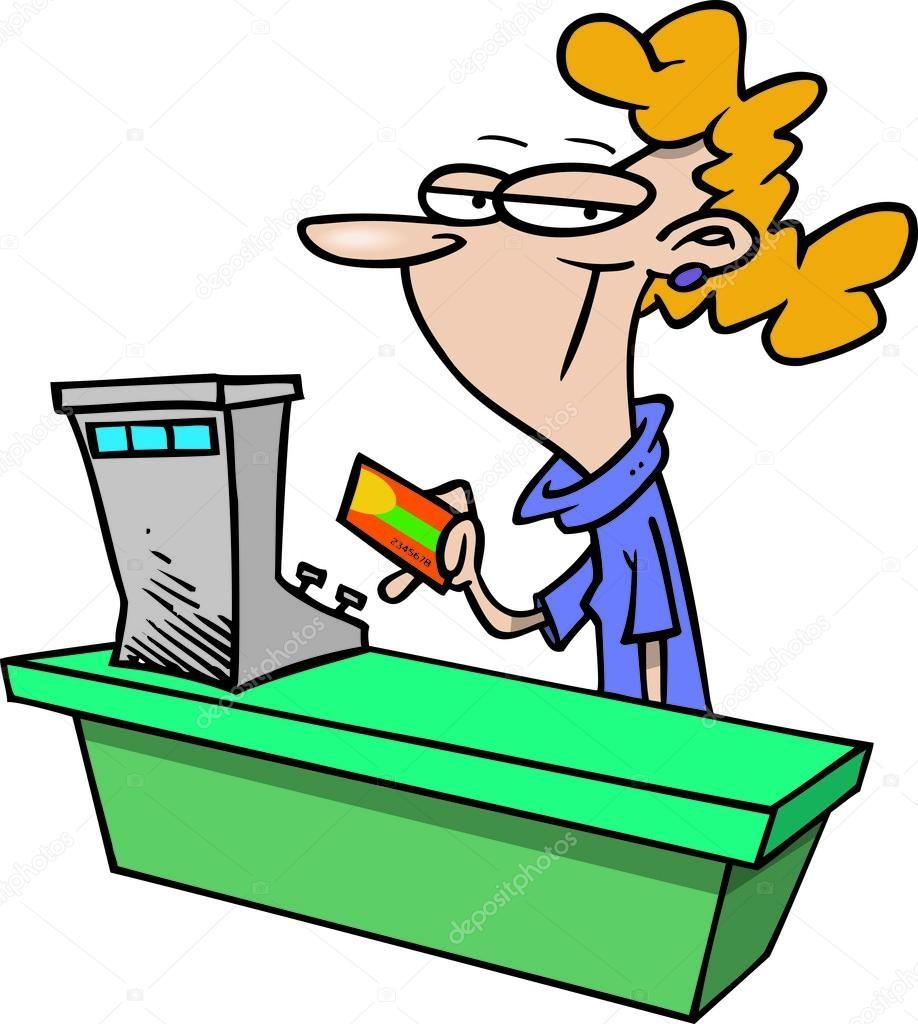 Supermarket Store Cashier Woman Sales Clerk Stock Vector