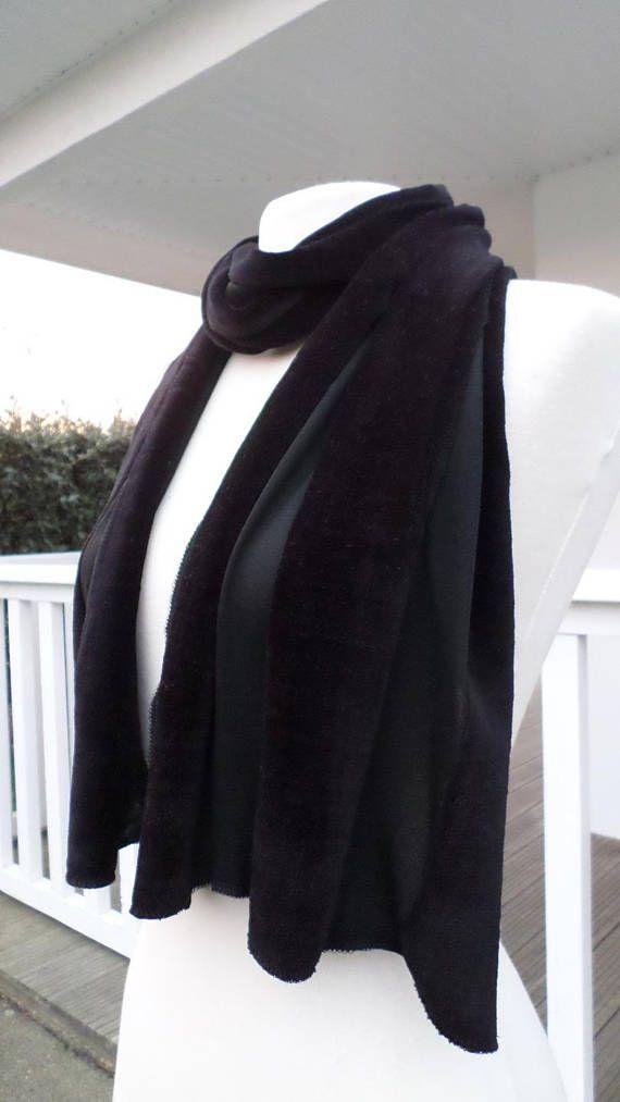 Etole écharpe foulard femme velours et voile noir agréable   écharpe ... 6503037a694
