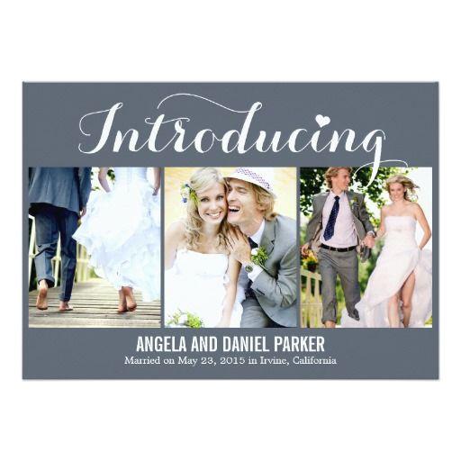 "Sweet Love ""Introducing"" Custom Personalized Bride Groom Picture Portrait Photo  Wedding Announcement Invitation Invite"