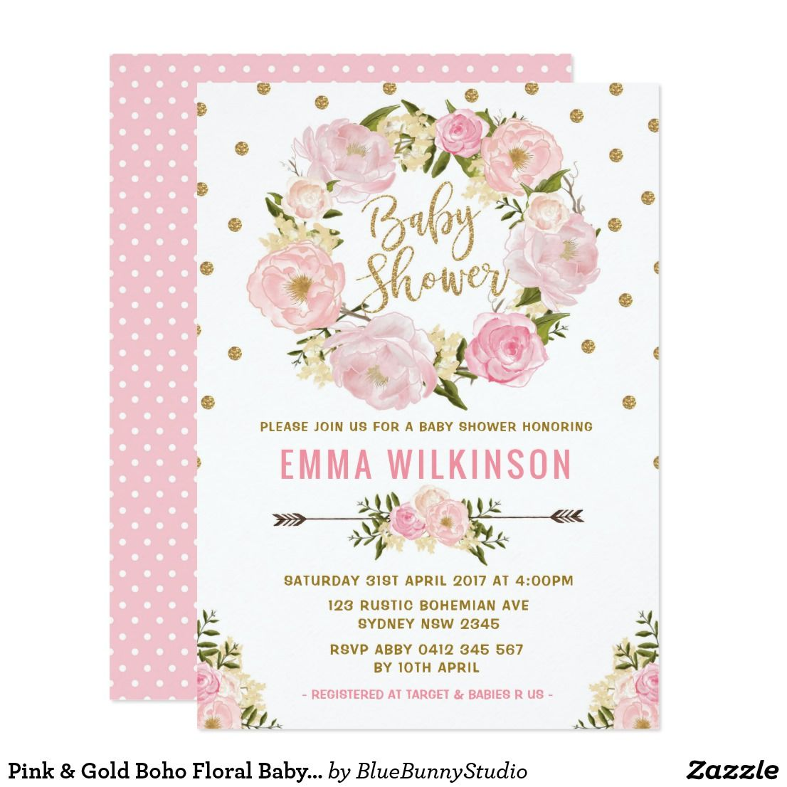 Pink & Gold Boho Floral Baby Shower Invitation Sweet and girly baby ...