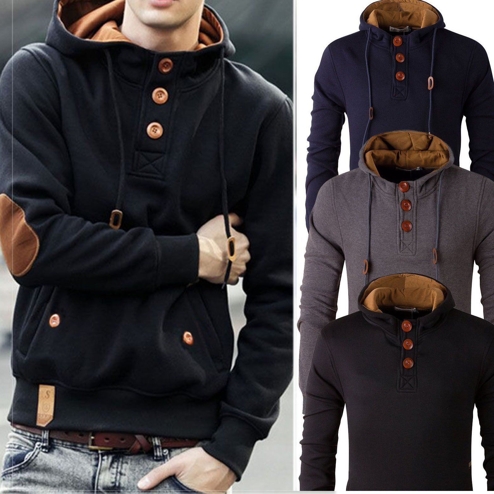 Stylish Men's Slim Warm Hooded Sweatshirt Hoodie Coat Jacket ...