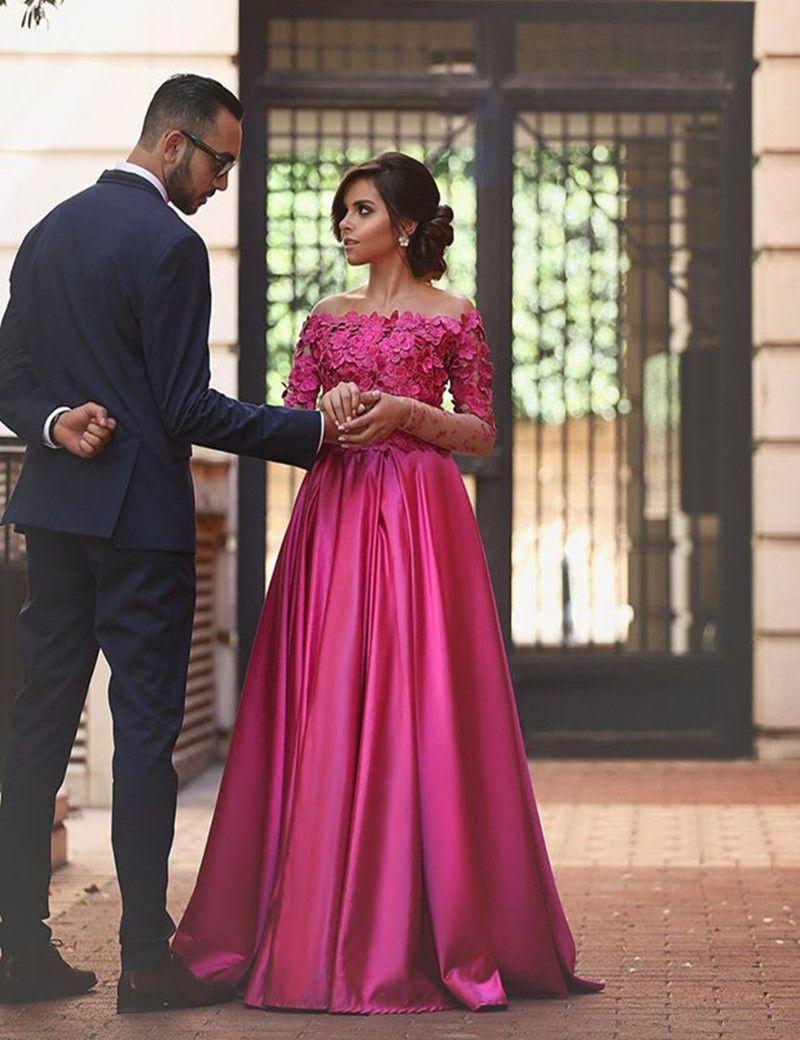 Fuchsia long sleeves formal occasion dress prom dress trendy