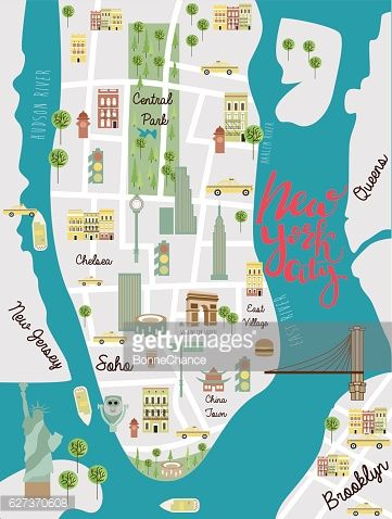 Illustrated Map Of New York City Travel Map Vector Illustration
