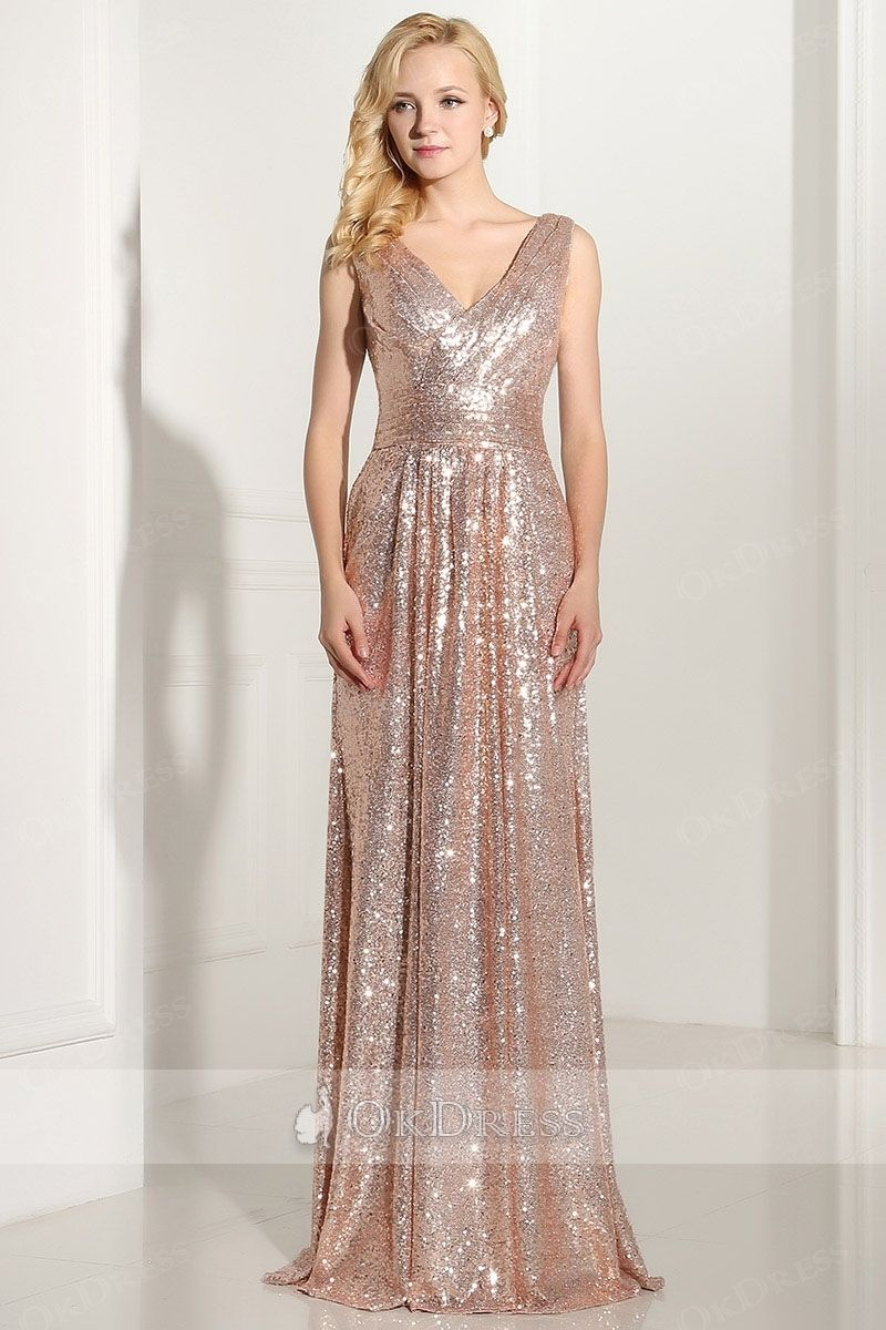 Long Sheath V-Neck Sleeveless Gold Sequin Bridesmaid Dress