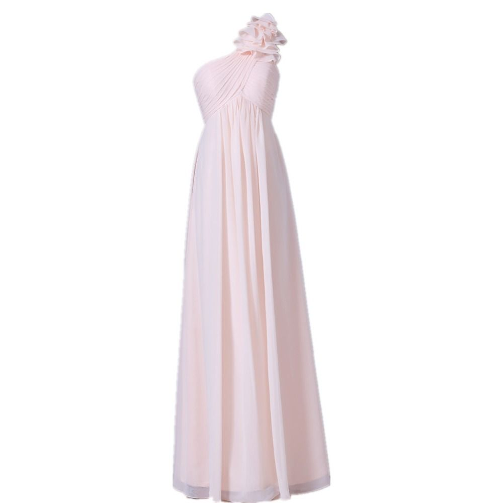 Long formal dress full length empire waist chiffon one shoulder