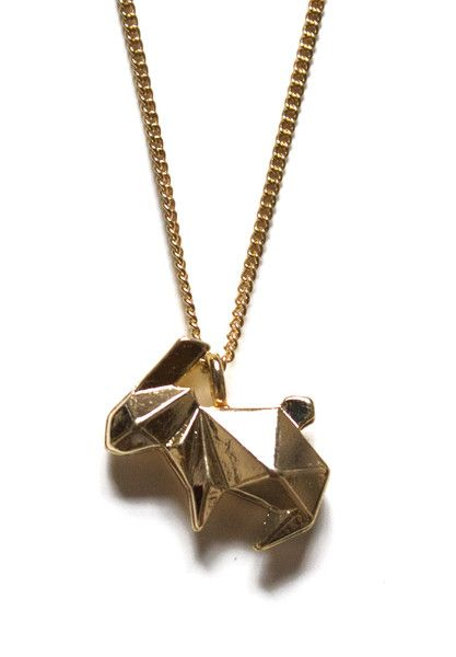 Gold Origami Rabbit Necklace $40