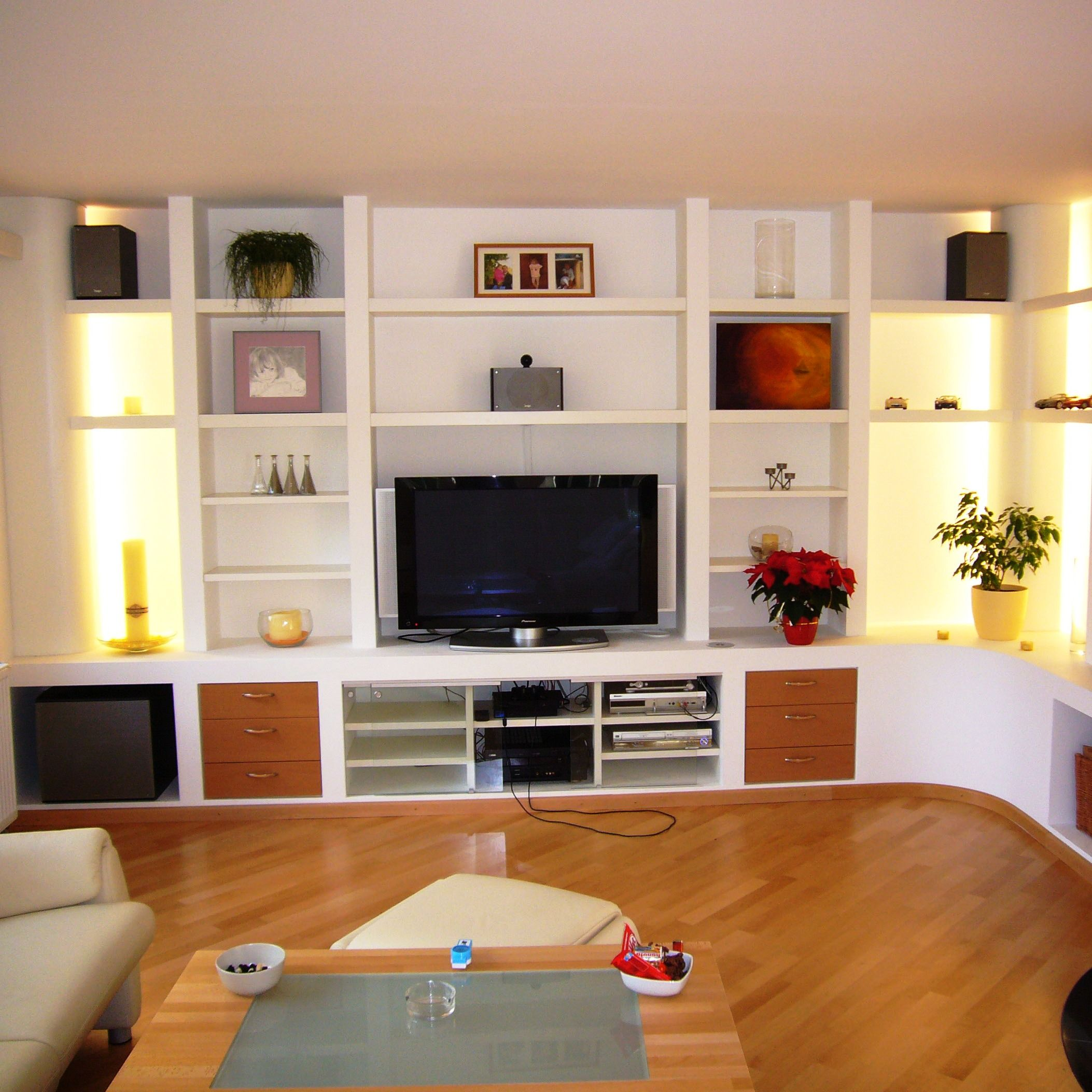 tv regal in wei lackiert mit kirschbaum doppeln l s regale pinterest. Black Bedroom Furniture Sets. Home Design Ideas