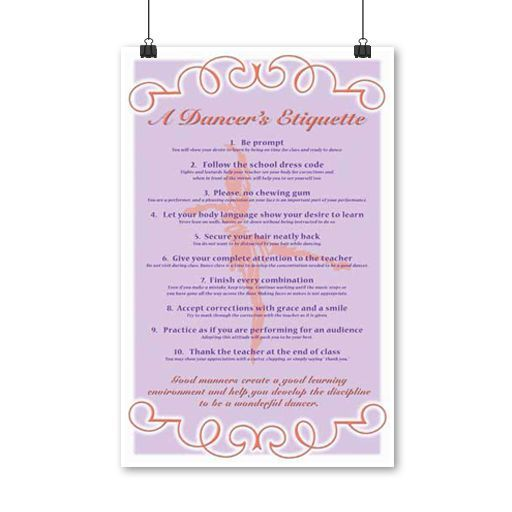 Studio Basics Posters - The Seven Movements and Ballet Etiquette - best of invitation quotes for teachers