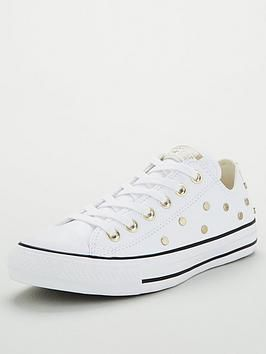 Converse Chuck Taylor All Star Stud Leather Ox Plimsolls - White in White/Gold #whiteallstars