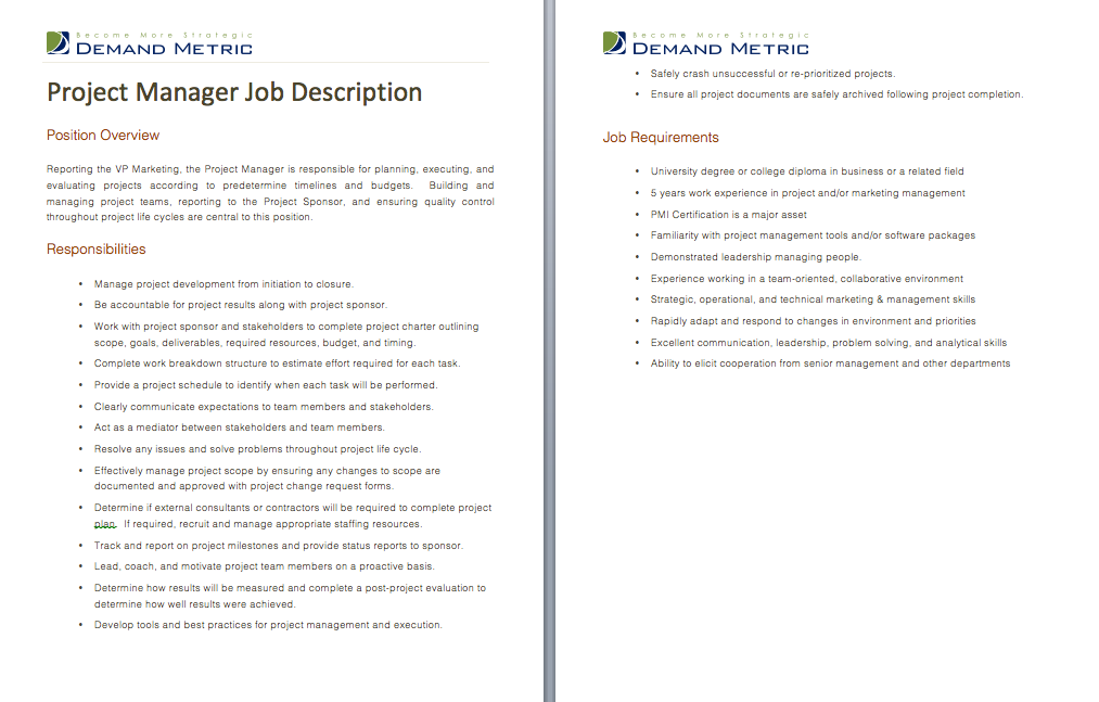 Project Manager Job Description A template to quickly
