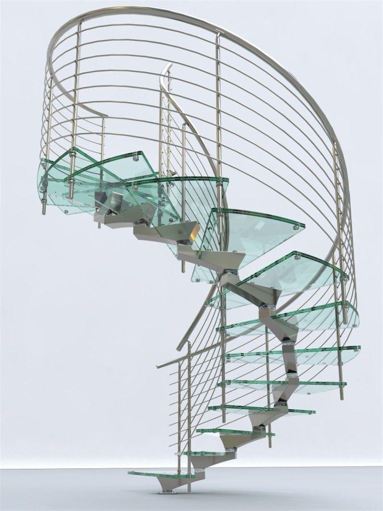 Glass and aluminium Spiral staircase MISTRAL By FARAONE design Matteo Paolini