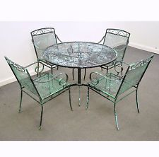 Vintage Mid Century Modern Wrought Iron Patio Dining Set Table Chairs Salterini