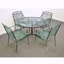 vintage mid century modern wrought iron patio dining set table chairs salterini - Modern Iron Patio Furniture