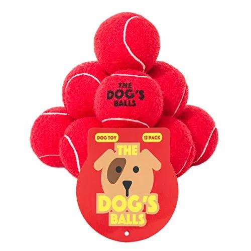 The Dog's Balls, Dog Tennis Balls, 12Pack Red Dog Toy