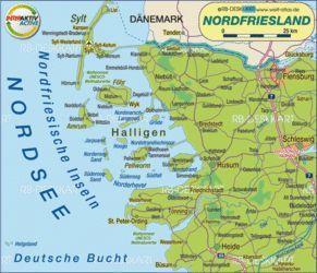 Deutsche Nordseeküste Karte.Karte Von Nordfriesland Deutschland Schleswig Holstein Karte