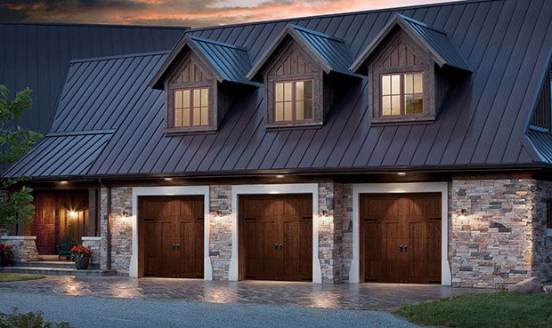 Clopay Doors Residential Garage Doors And Entry Doors Commercial Doors Canyon Ridge Faux Wood Carria Garage Door Design Carriage House Garage Garage Doors