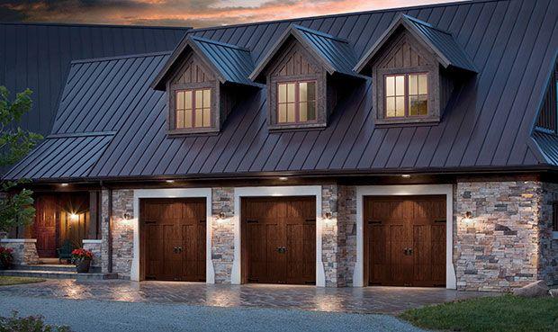 Clopay Doors Residential Garage Doors And Entry Doors Commercial Doors Canyon Ridge Faux Wood Carria Garage Door Design Carriage House Garage Garage Doors
