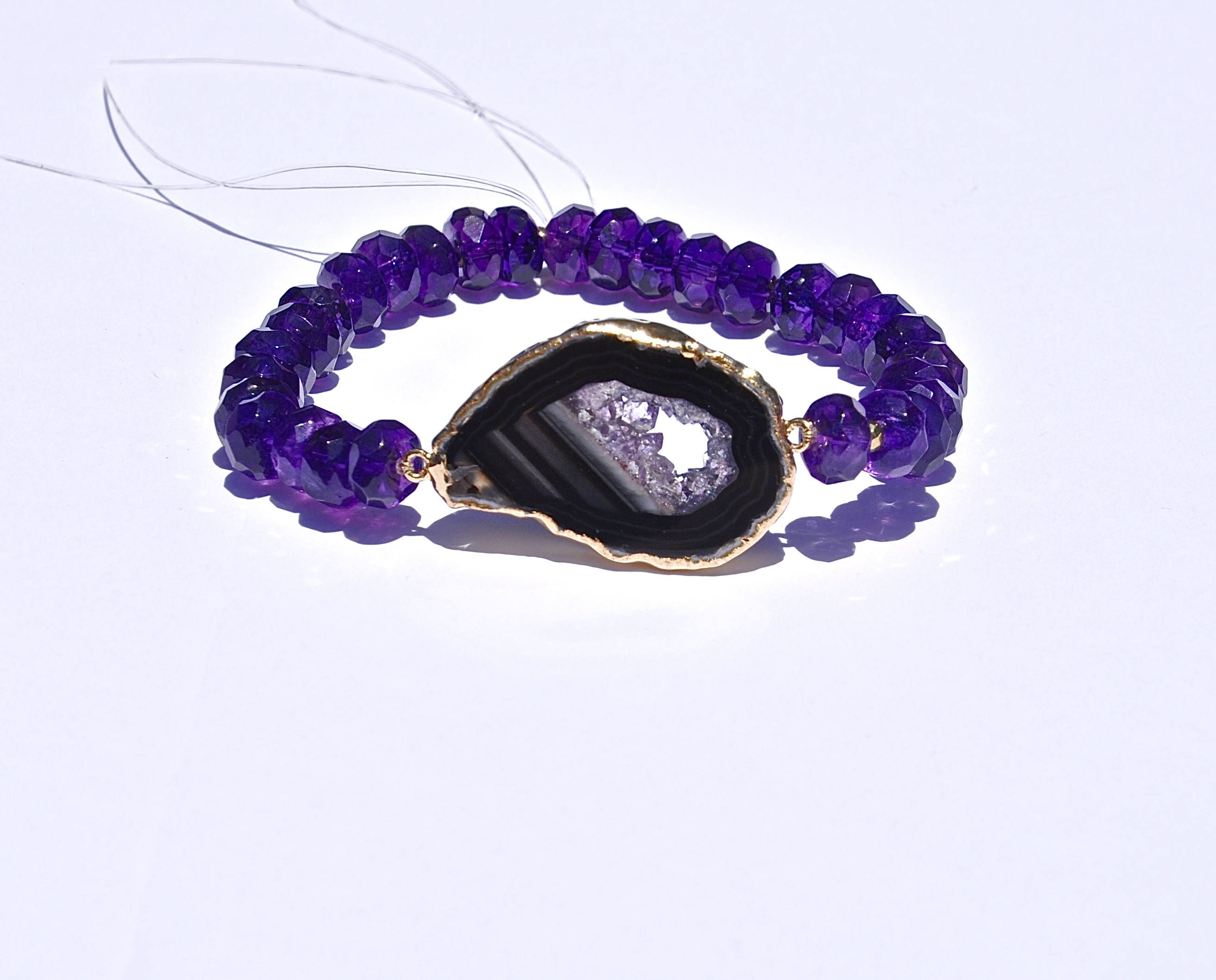 Small amethyst geode bracelets for women purple flower girl