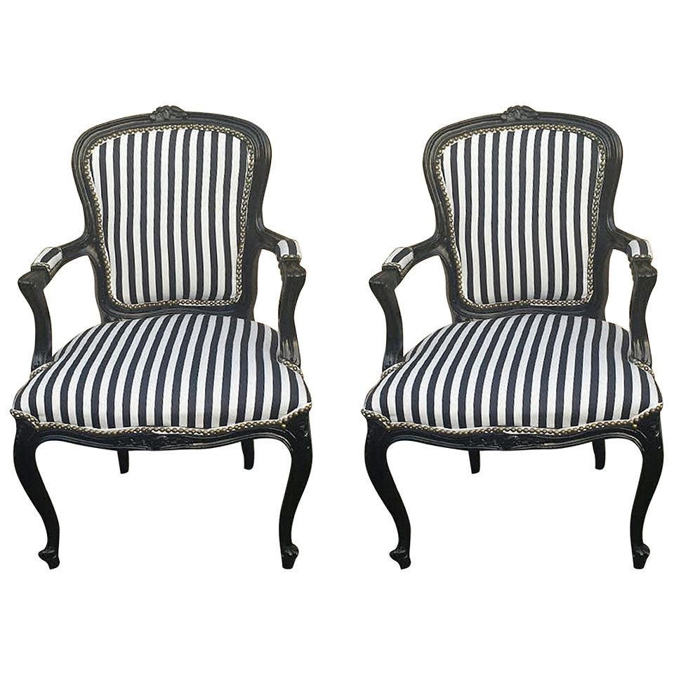 Pair of French Louis XV Style Black and White Striped ...