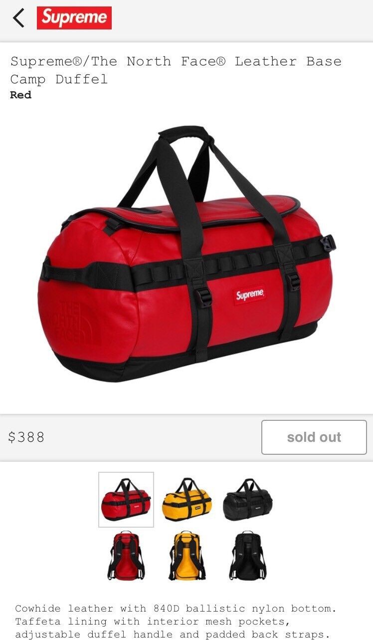 28e1ef401 Details about SUPREME THE NORTH FACE LEATHER BASE CAMP DUFFEL (RED ...