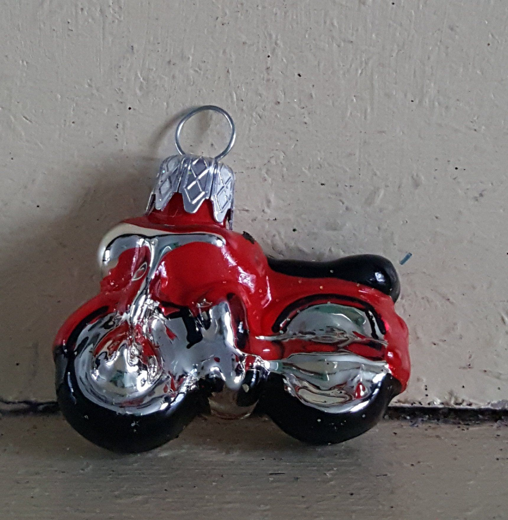 Blown Glass Mini Bright Red Motorbike Christmas Ornament 1 5 Made In Poland By Ukbeadsonline On Etsy Mini Ornaments Christmas Ornaments Glass Blowing