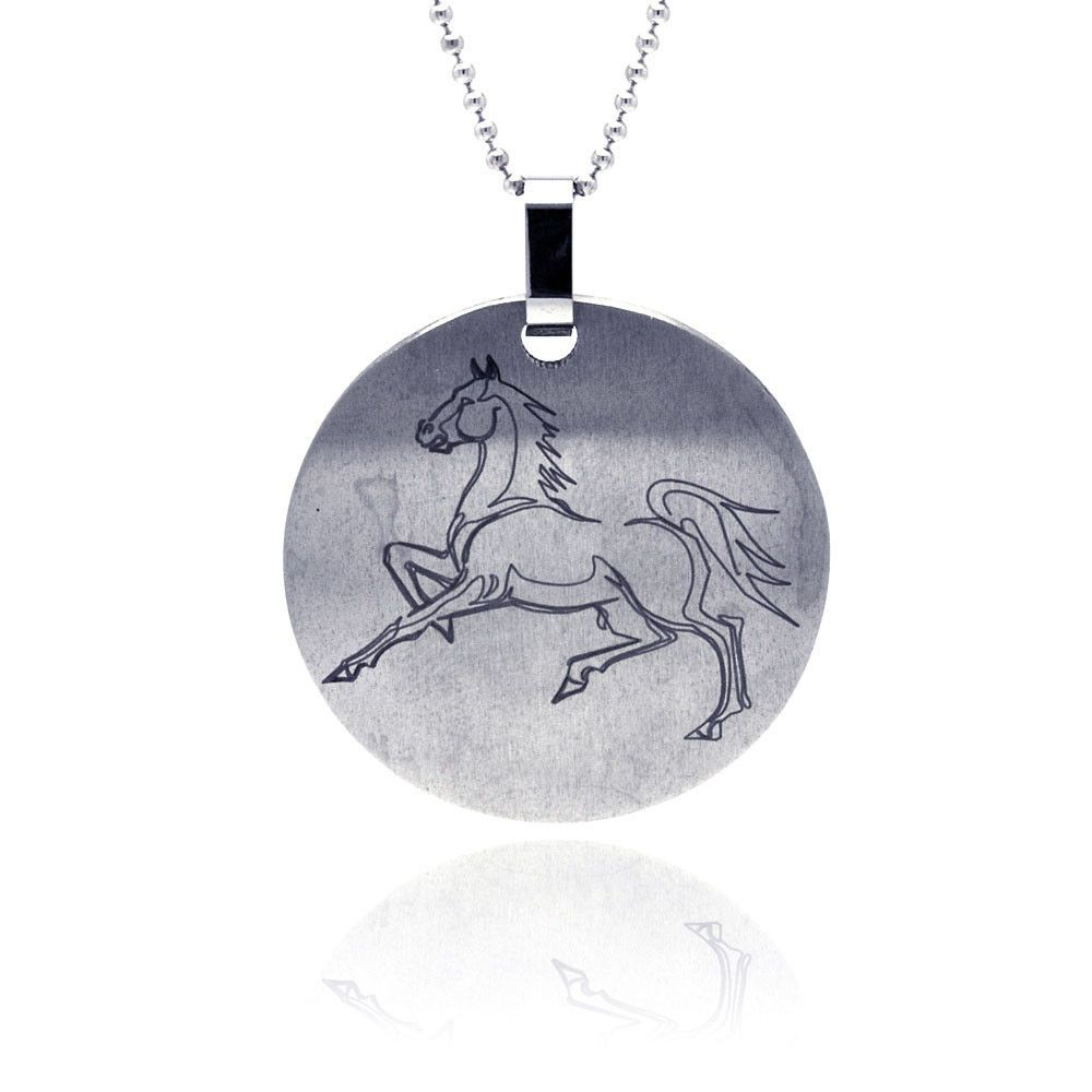 Stainless Steel Horse Disc Dog Tag Charm Pendant