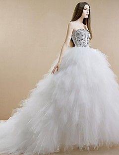 6e0c7465c Vestido de Boda - Blanco Corte Princesa Catedral - Sin Tirantes Tul Satén  Elástico