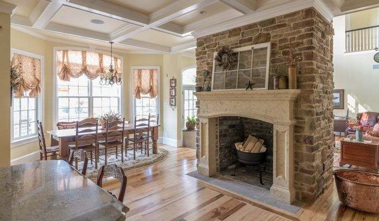 Middle Stone Fire Places Between Dining Room And Living Room Fireplace Design Fireplace Surrounds Eldorado Stone