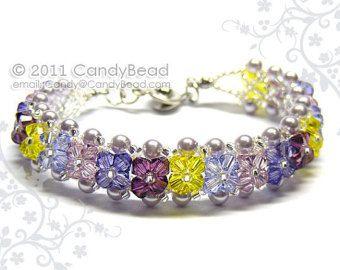 Pulsera de Swarovski corales de brillantes cristales por candybead