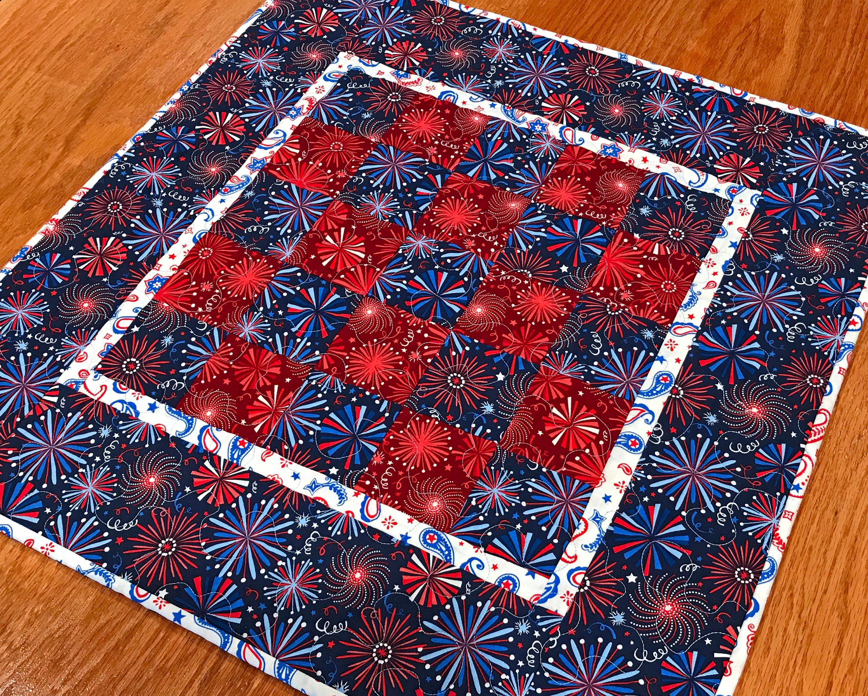 Patriotic Quilted Table Topper,Handmade 4th of July Centerpiece,4th of July Runner,Square Patriotic Table Topper,Red White Blue Table Topper