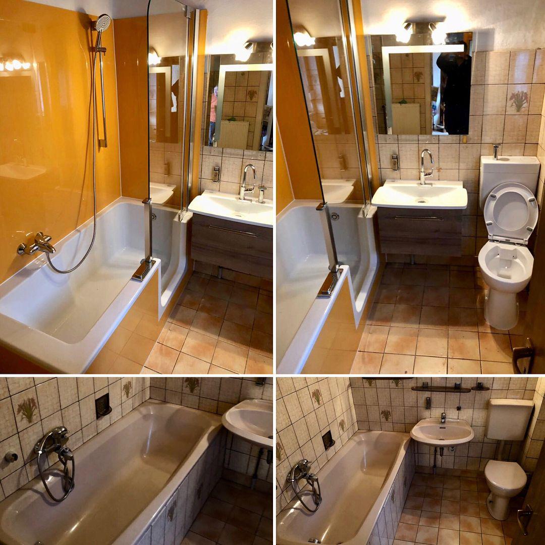 Ein Kleines Bad (nur Ca 1,80 X 1,90) Wurde Zum Teil Renoviert. Badewanne  Raus   TWINLINE Duschbadewanne Rein. Ab Sofort Duschen Und Baden Mit  Niedrigem ...
