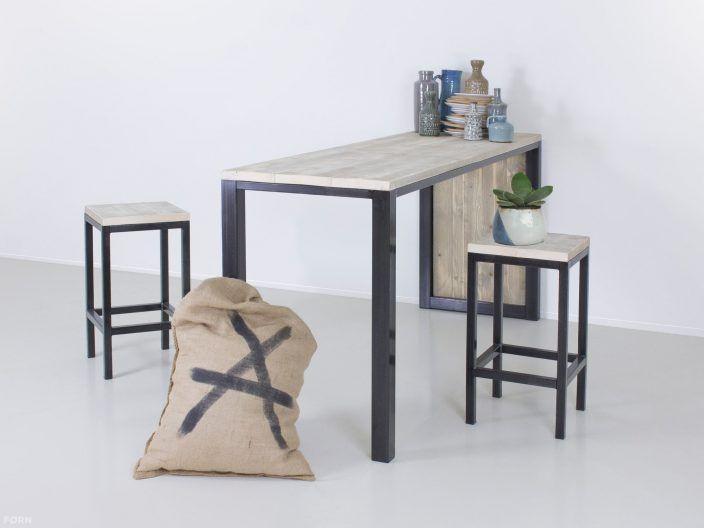 Industriedesign Bartisch Jan mit Schrank aus Stahl und Bauholz - bar fürs wohnzimmer