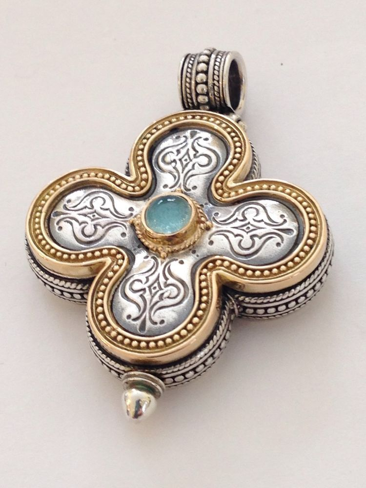 Konstantino sterling silver 18k yellow gold clover cross pendant konstantino sterling silver 18k yellow gold clover cross pendant enhancer konstantino pendant mozeypictures Choice Image