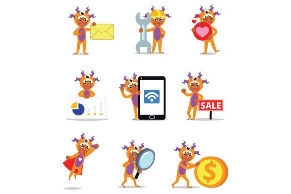 Set of Character Orange Monster Men #Sponsored , #AD, #Character, #Set, #Orange, #Men