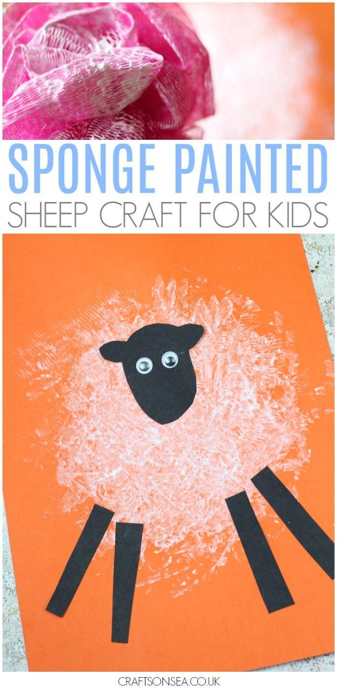 Sponge printed sheep craft baby room pdo pinterest sheep