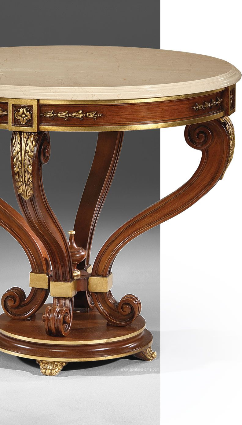 beautiful details of the Louis XVI style center table luxury