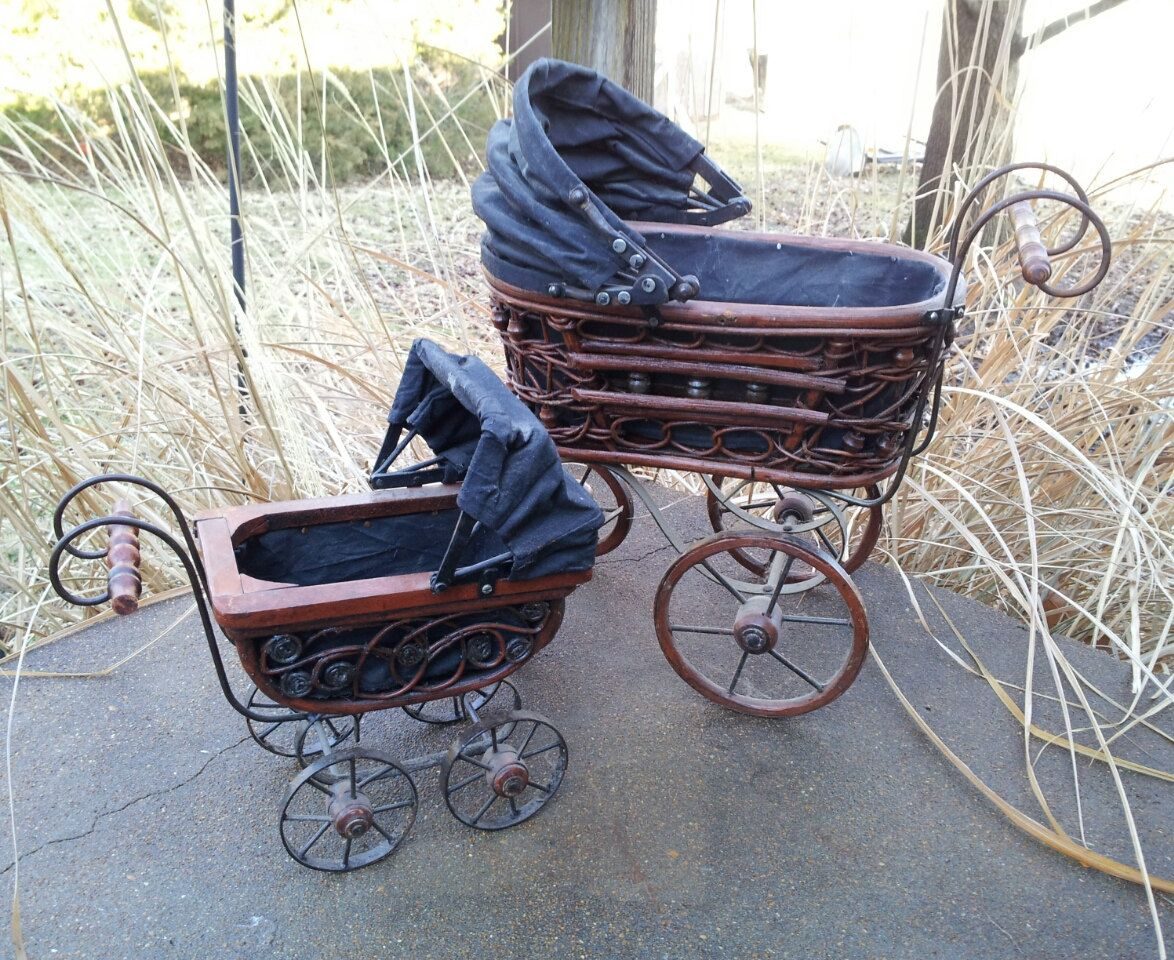 Baby Doll Carriage Vintage doll buggy 2 Antique... | Wicker Furniture wickerparadise.com
