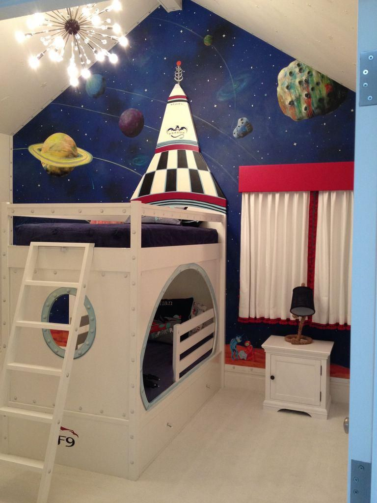 Rocketship Bed With Glow In The Dark Details For This Dubai S Summer House So Blessed They Let Me Do A Mars Habitat Solar System Mural Honor Of
