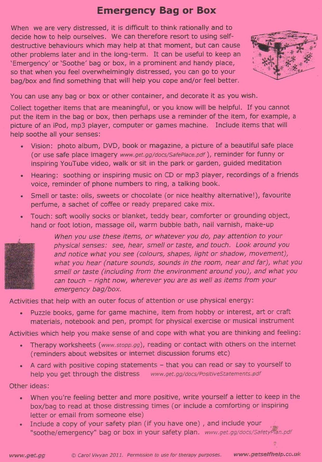 Emergency Distress Tolerance Kit Ideas