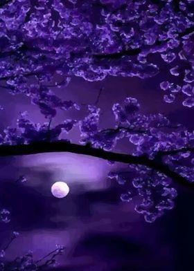 Metal Poster Glittering Moon