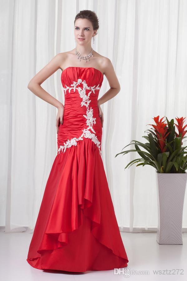 Red Mermaid Taffeta Appliques Strapless Long Bridesmaid Dresses ...