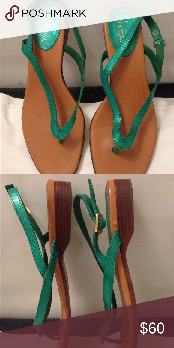 3c8252df23e Cole Haan sea green leather sandals Cole Haan sea green thong sandals (faux  snake print) with buckle