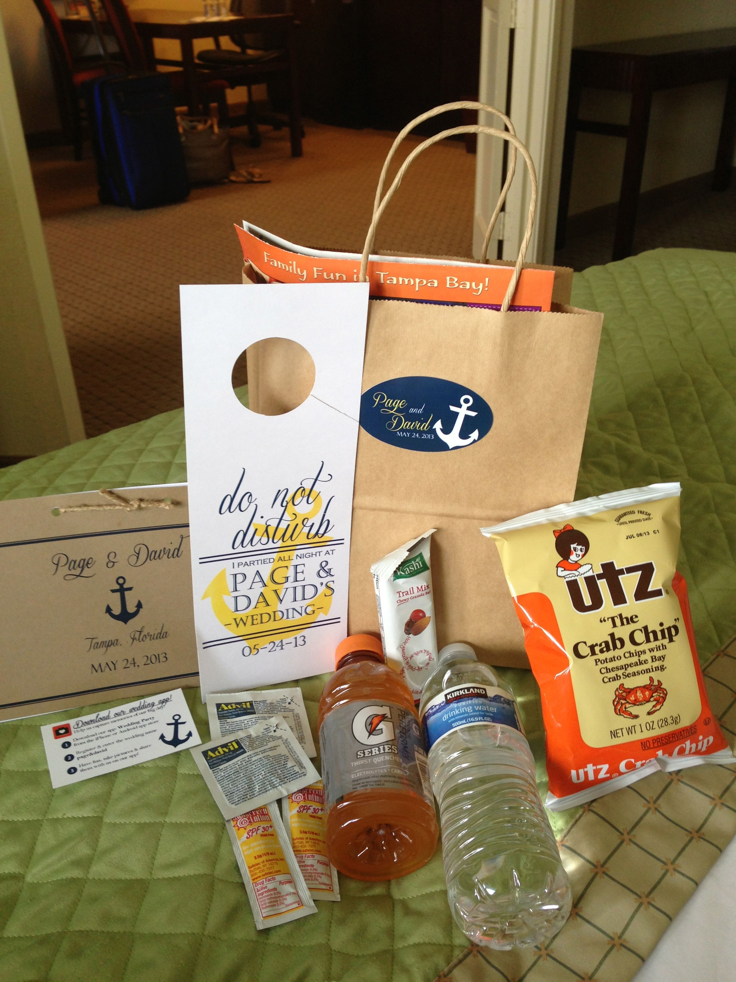 Ideas For Wedding Goodie Bags : Nautical Wedding Out of Town Gift Bag Nautical Wedding Ideas Pint ...