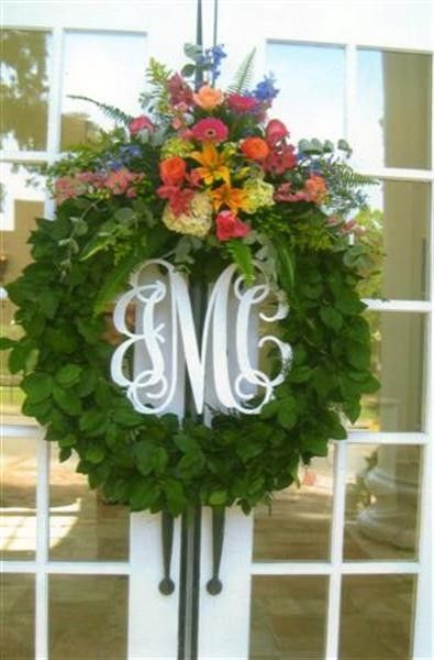 Example of monogram painted and inside wreath.  Beautiful idea!
