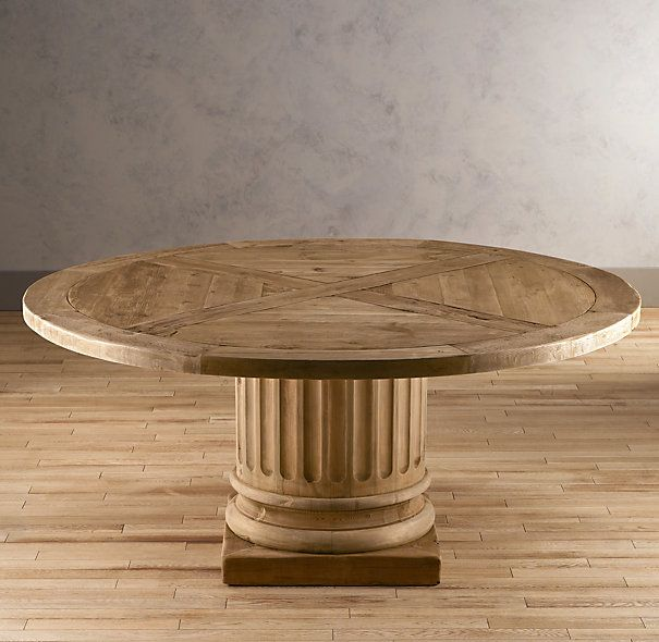 Salvaged Wood Architectural Column Round Dining Table. This Is The Table,  Zach. 72