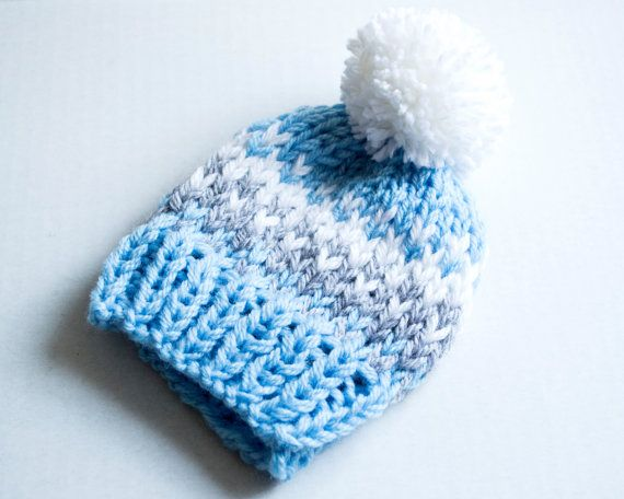 Fair Isle Baby Boy Knit hat. How cute is the little pom pom?! This ...