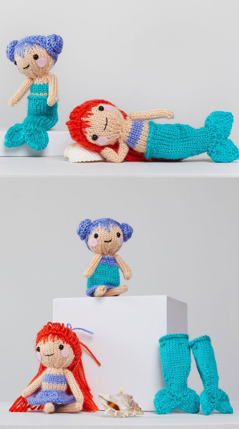 Free Knitting Pattern for Tina & Nina Mermaid #knittedtoys