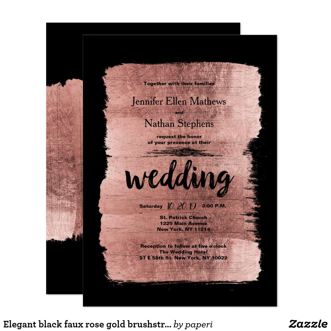Elegant black faux rose gold brushstrokes Wedding Card | Wedding ...